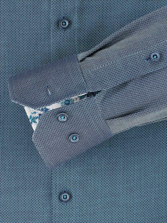 Venti overhemd kent boord turquoise gewerkt 113599500 (2)