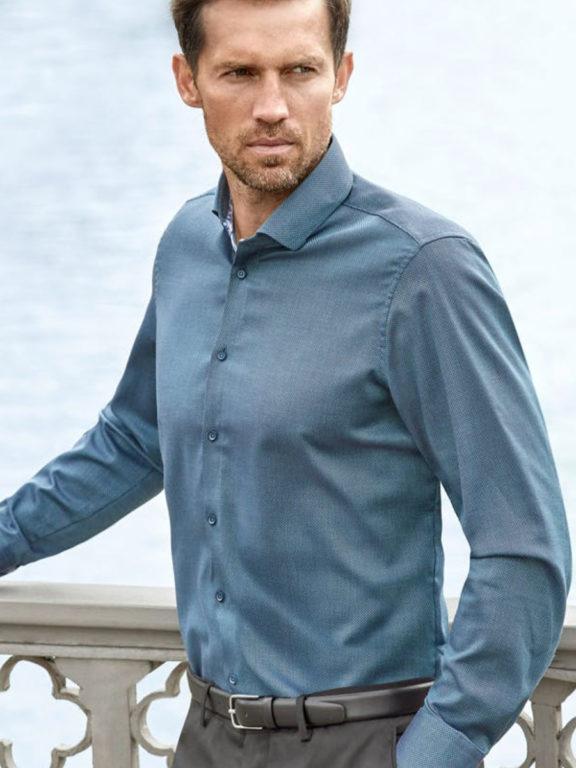 Venti overhemd kent boord turquoise gewerkt 113599500 model