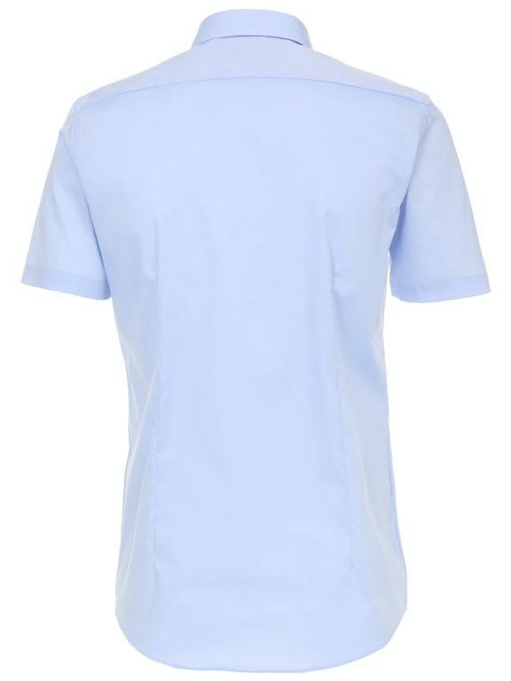 Venti overhemd korte mouw blauw body fit met bloemen motief in de boord 603431000-100 (4)