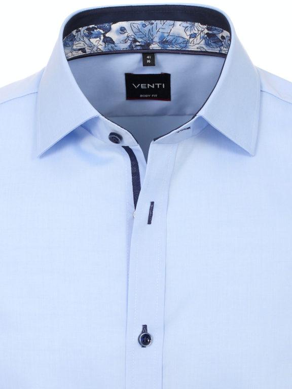 Venti overhemd korte mouw blauw body fit met bloemen motief in de boord 603431000-100 (6)