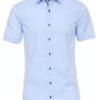 Venti overhemd korte mouw blauw body fit met bloemen motief in de boord 603431000-100 (7)