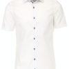 Venti overhemd korte mouw wit Body fit met bloemen motief in de boord 603431000-000 (12)