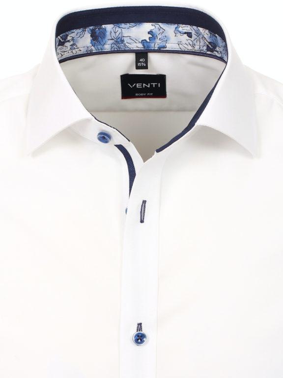 Venti overhemd korte mouw wit Body fit met bloemen motief in de boord 603431000-000 (13)