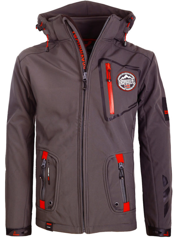 Geographical Norway Softshell Jas Stretch grijs met capuchon Premium Tacebook (2)