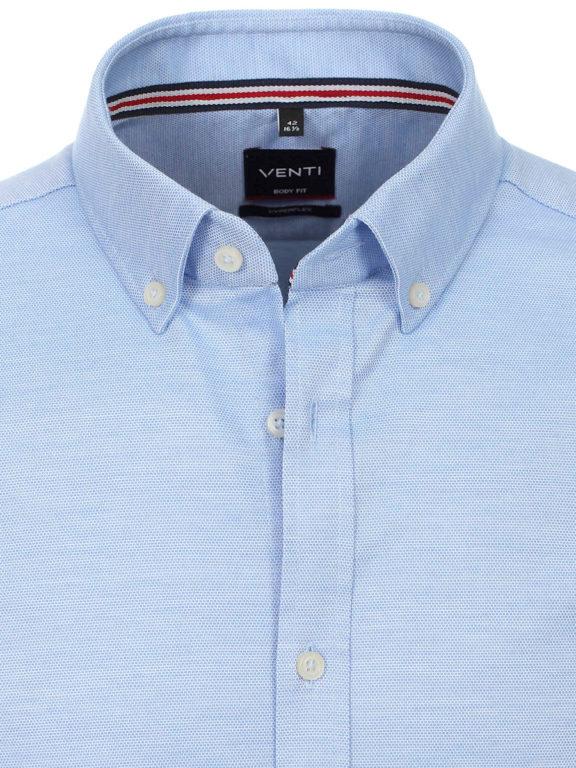 Venti overhemd blauw gemeleerd met button down kraag lange mouw 113654800-100 (2)