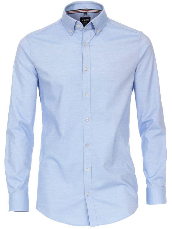 Venti overhemd blauw gemeleerd met button down kraag lange mouw 113654800-100 (3)
