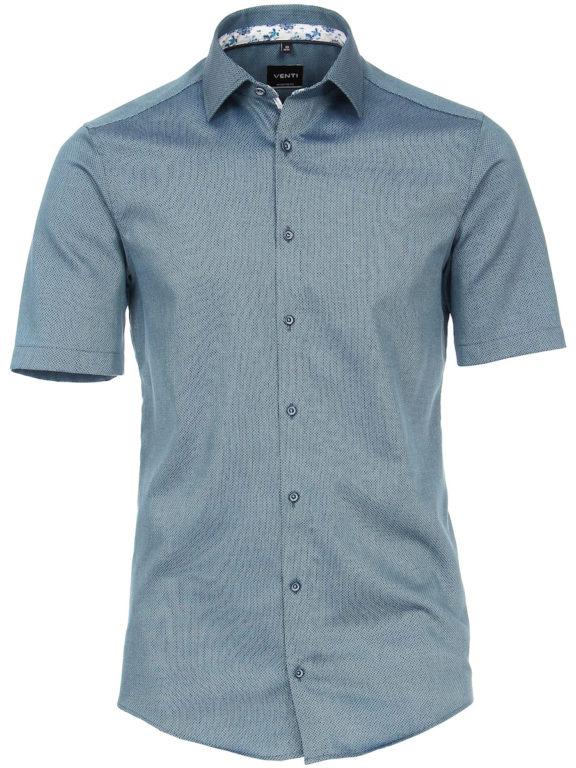 Venti overhemd korte mouw blauw met bloemenprint en strijkvrij 613657300-350 (5)