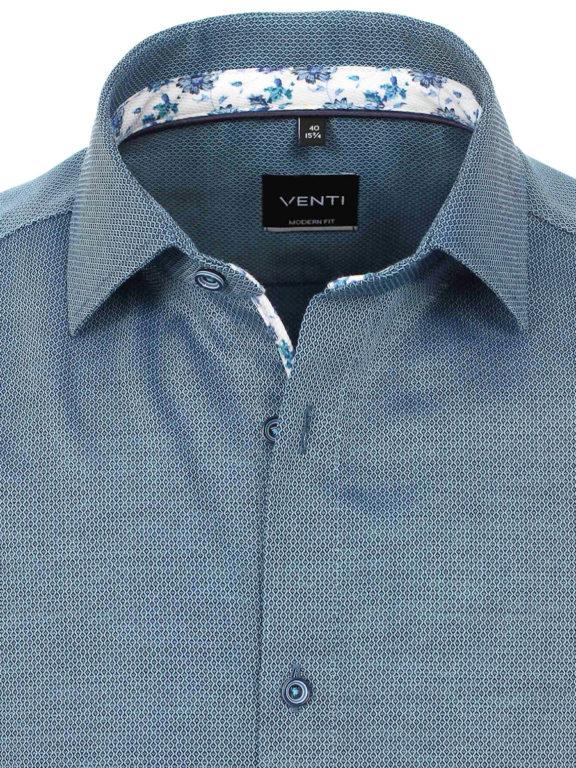 Venti overhemd korte mouw blauw met bloemenprint en strijkvrij 613657300-350