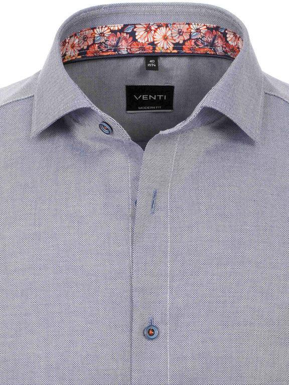 Venti overhemd korte mouw blauw met bloemenprint in de boord 613685000-100 (3)