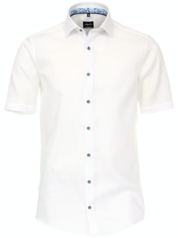 Venti overhemd korte mouw wit met bloemenprint en strijkvrij 613657300-000 (3)