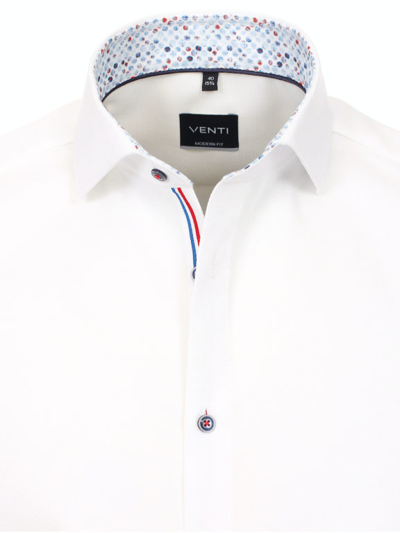 Venti overhemd korte mouw wit met bolletjes print strijkvrij 613658600 (1)