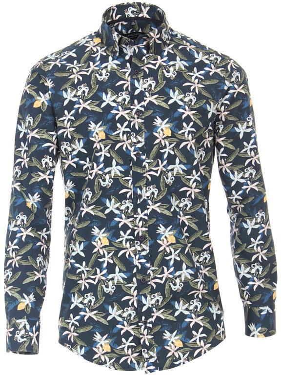 Casa Moda organic overhemd met bloemenprint blauw modern fit kent kraag 413613300 (1)