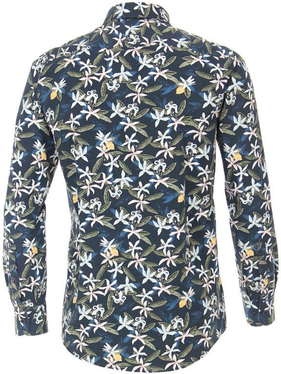 Casa Moda organic overhemd met bloemenprint blauw modern fit kent kraag 413613300 (2)