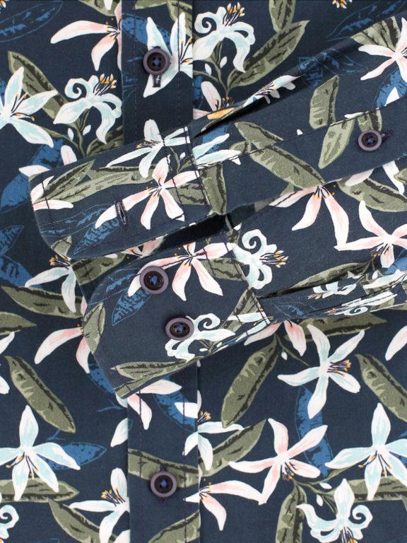 Casa Moda organic overhemd met bloemenprint blauw modern fit kent kraag 413613300 (4)
