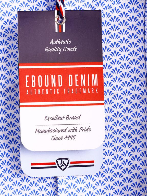 E-Bound heren overhemd korte mouw met borstzak en motief blauw 147230.H.SH (1)