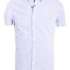 E-Bound heren overhemd korte mouw met borstzak en motief blauw 147230.H.SH (2)