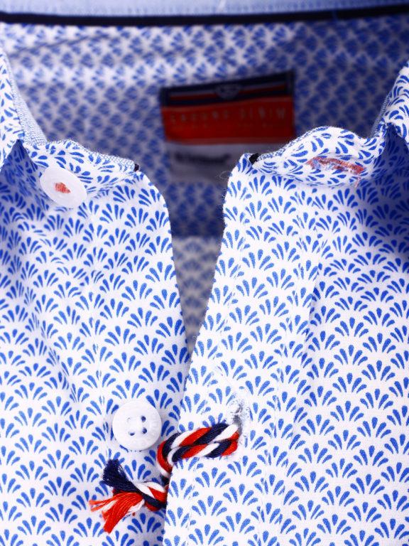 E-Bound heren overhemd korte mouw met borstzak en motief blauw 147230.H.SH (4)