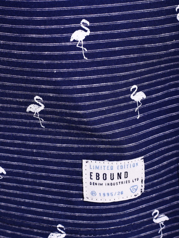 E-Bound poloshirt heren blauw met vogelmotief met jeans kraag 145747.H.PO (1)