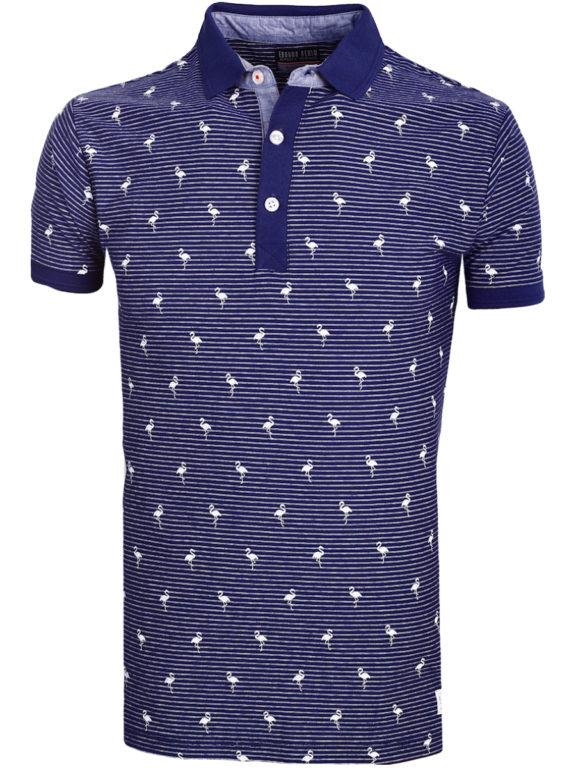 E-Bound poloshirt heren blauw met vogelmotief met jeans kraag 145747.H.PO (2)