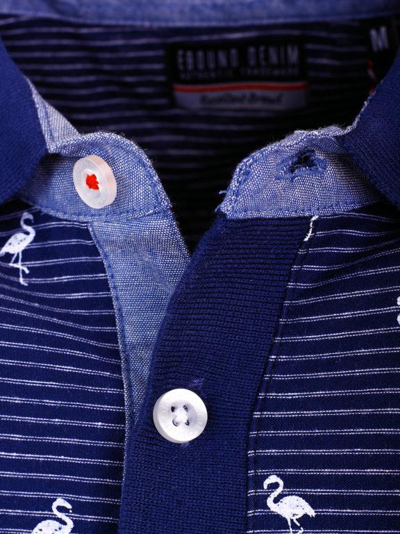 E-Bound poloshirt heren blauw met vogelmotief met jeans kraag 145747.H.PO (5)