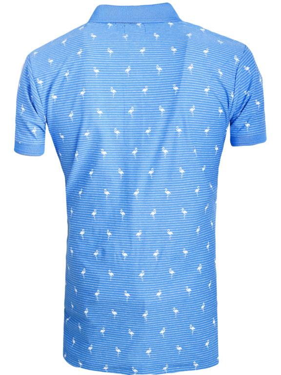 E-Bound poloshirt heren lichtblauw met vogelmotief met jeans kraag 145747.H.PO (1)