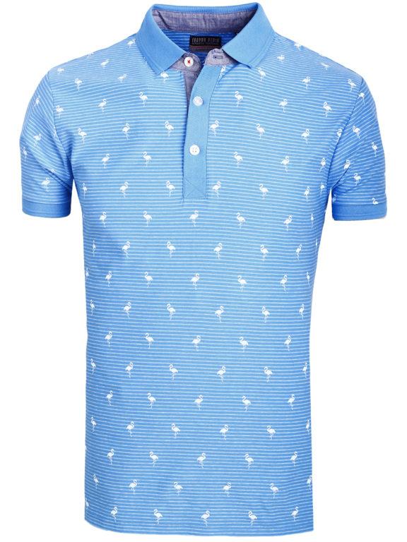 E-Bound poloshirt heren lichtblauw met vogelmotief met jeans kraag 145747.H.PO (2)