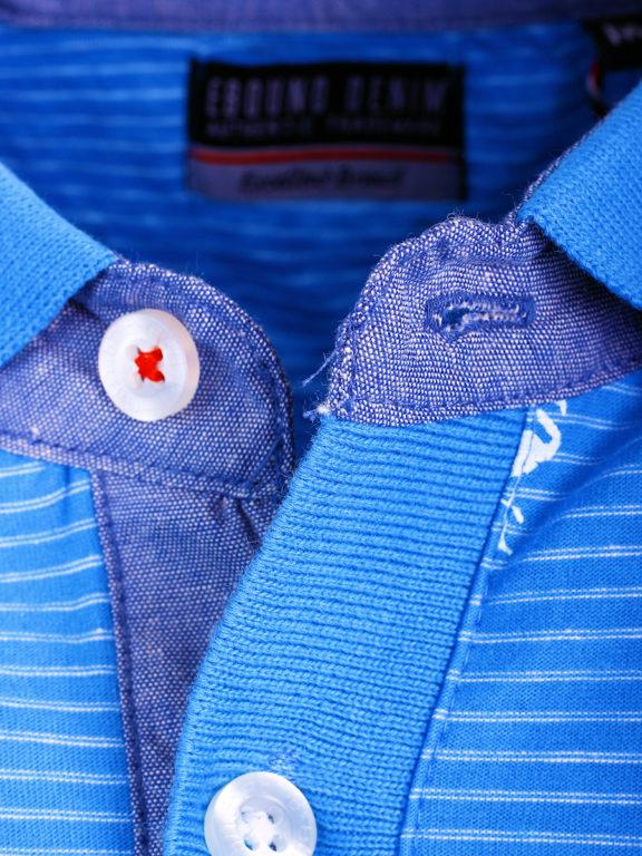 E-Bound poloshirt heren lichtblauw met vogelmotief met jeans kraag 145747.H.PO (4)