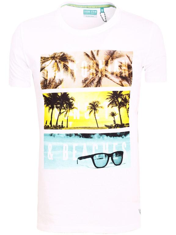 E-Bound shirt ronde hals California sunset beach wit 145785.H.TS (2)