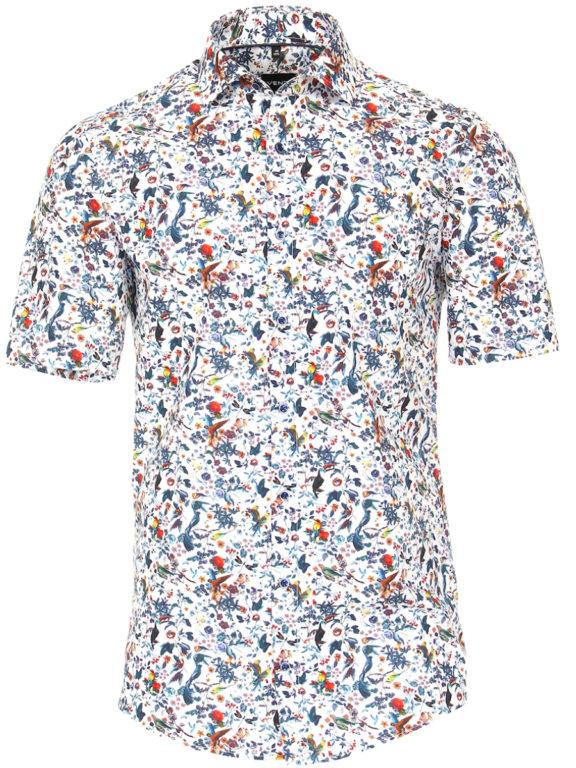 Venti overhemd korte mouw met bloemenprint blauw modern fit kent kraag 613696000 (2)