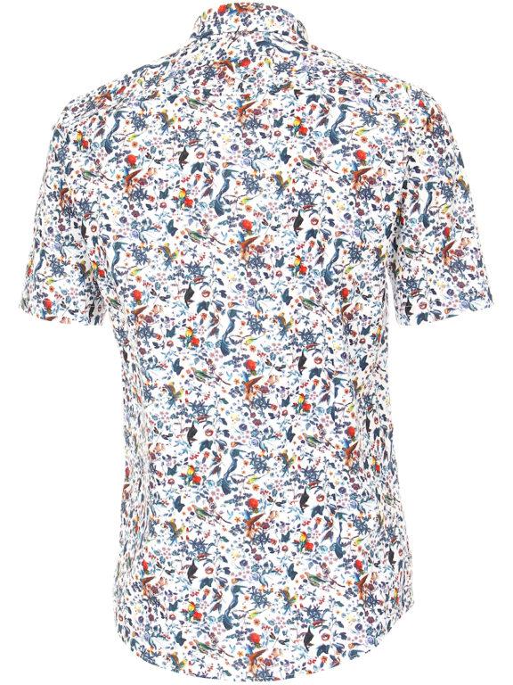 Venti overhemd korte mouw met bloemenprint blauw modern fit kent kraag 613696000 (4)