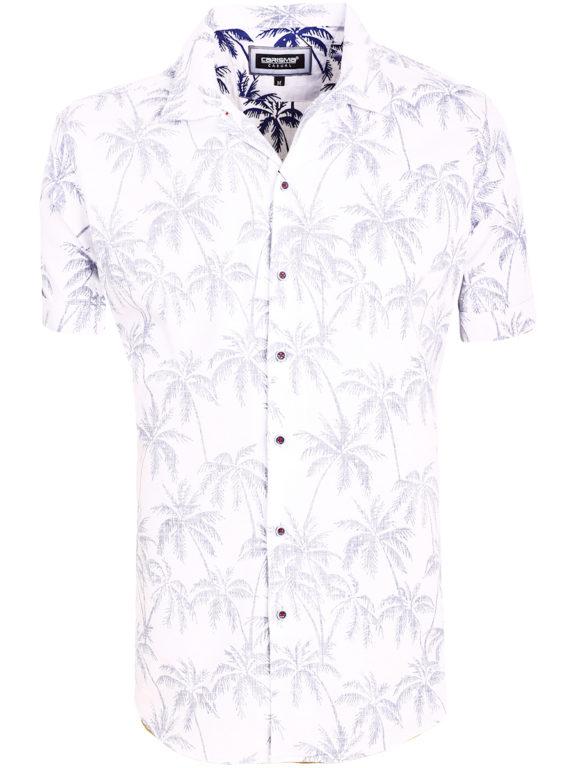 Carisma overhemd korte mouw met bloemenmotief wit (2)