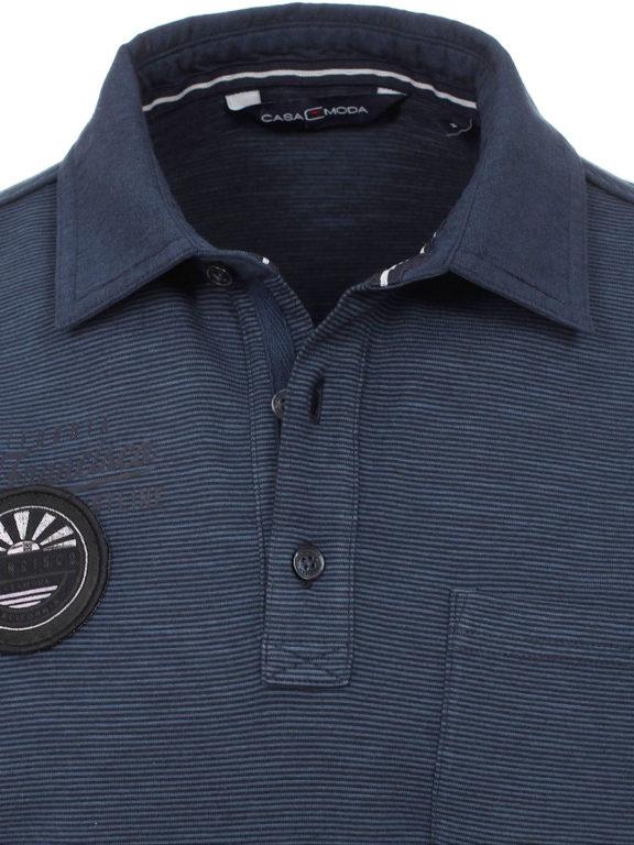 Casa Moda California poloshirt gestreept blauw met borstzakje 913671700-125 (4)