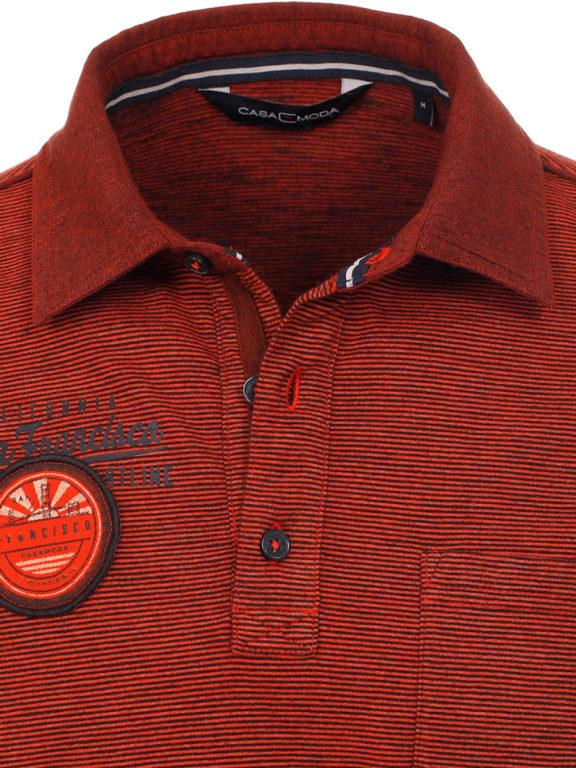 Casa Moda California poloshirt gestreept oranje met borstzakje 913671700-457 (4)
