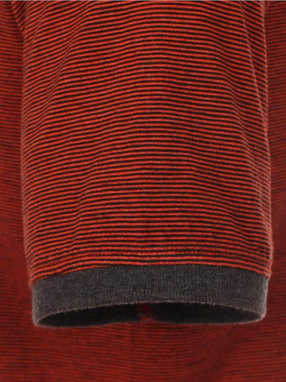 Casa Moda California poloshirt gestreept oranje met borstzakje 913671700-457 (5)