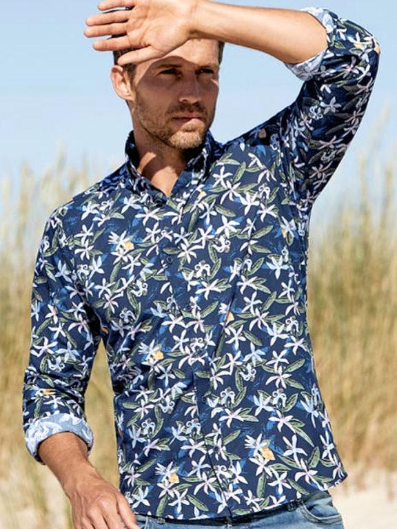 Casa Moda organic overhemd met bloemenprint blauw modern fit kent kraag model 413613300 (1)