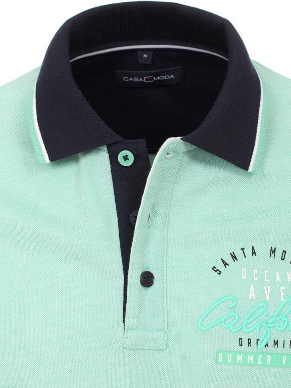 Casa Moda polo shirt groen Santa Monica summer vibes met print 913672900-313 (3)