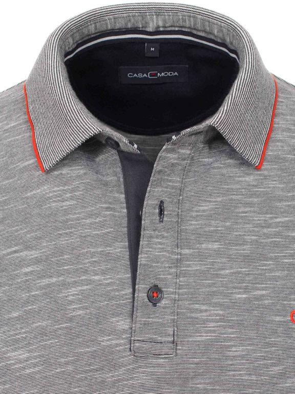 Casa Moda poloshirt gemeleerd grijs met logo op de borst 913671400-766 (4)