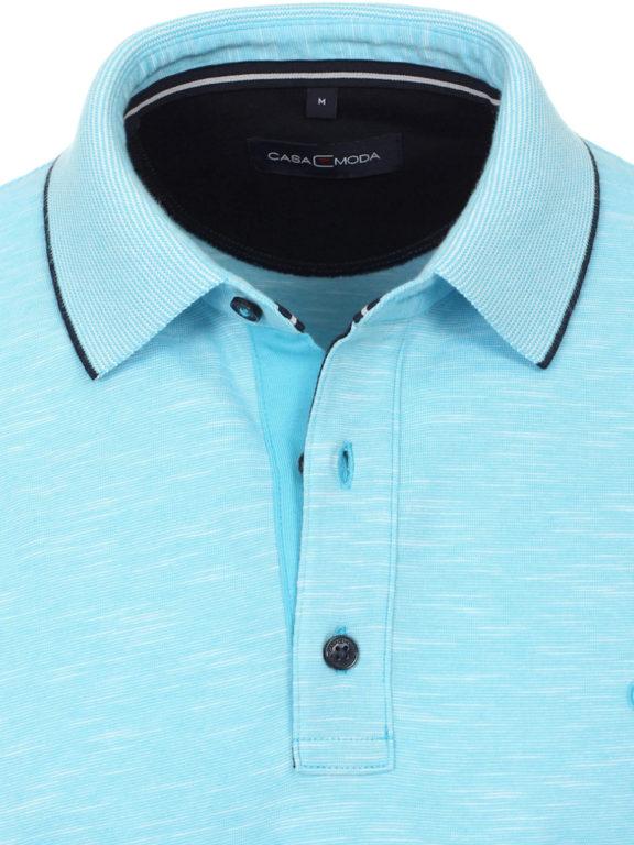 Casa Moda poloshirt gemeleerd lichtblauw met logo op de borst 913671400-123 (4)