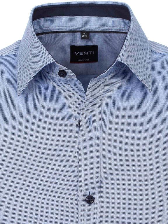 Vent overhemd lange mouw met stretch Body fit Blauw 103413700-105 detail