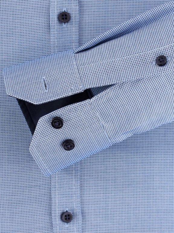 Vent overhemd lange mouw met stretch Body fit Blauw 103413700-105-manchet