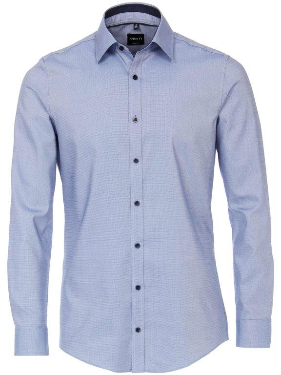 Vent overhemd lange mouw met stretch Body fit Blauw 103413700-105-voorkant