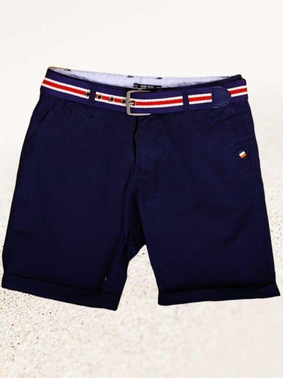 E-Bound korte broek chino model blauw met steekzakken en riem 147099 (1)