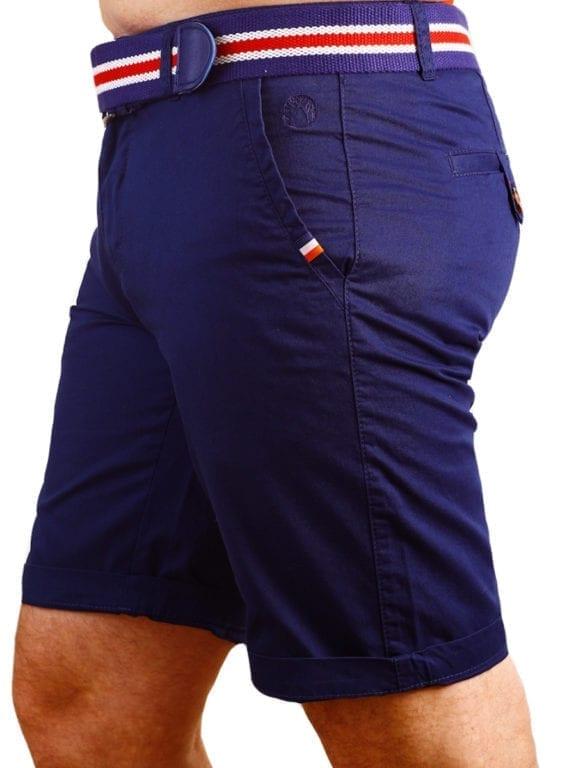 E-Bound korte broek chino model blauw met steekzakken en riem 147099 (3)