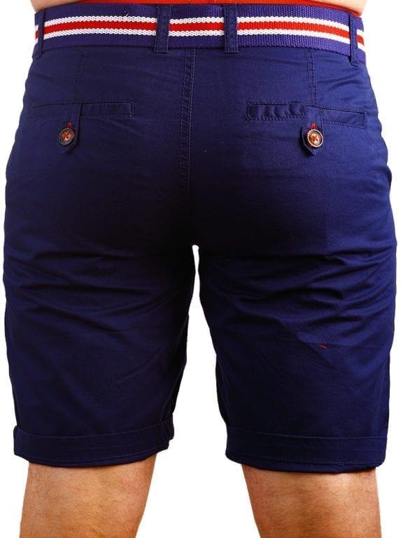 E-Bound korte broek chino model blauw met steekzakken en riem 147099 (4)