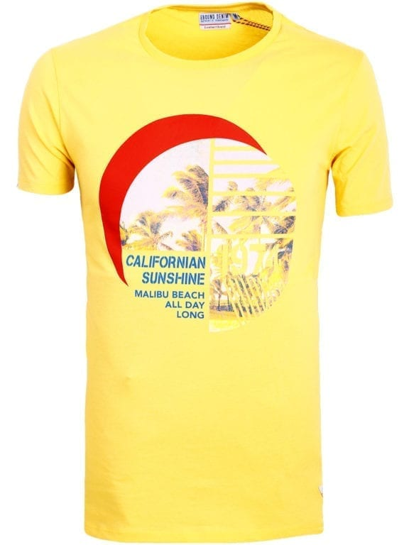 E-Bound shirt ronde hals California Malibu beach Geel 145284 (2)