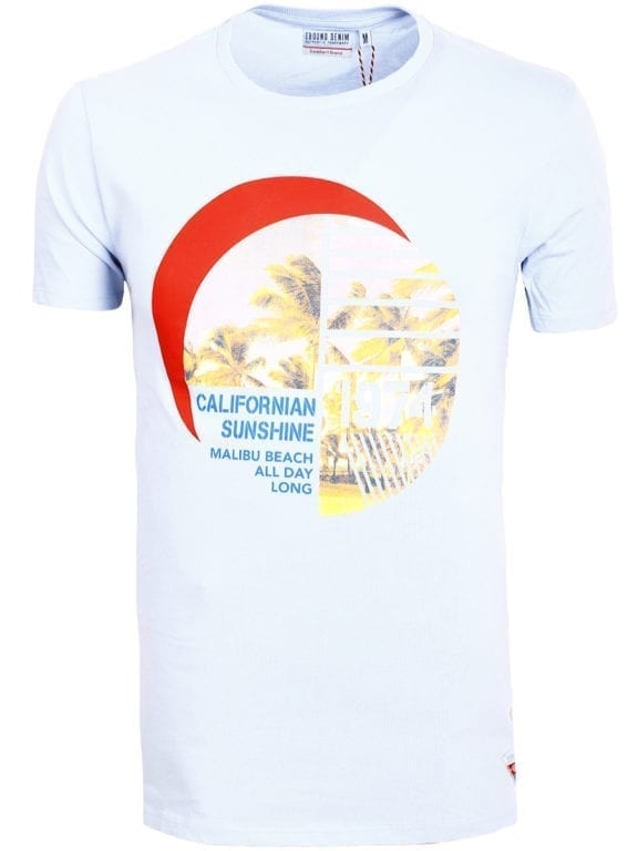 E-Bound shirt ronde hals California Malibu beach lichtblauw 145284 (14)