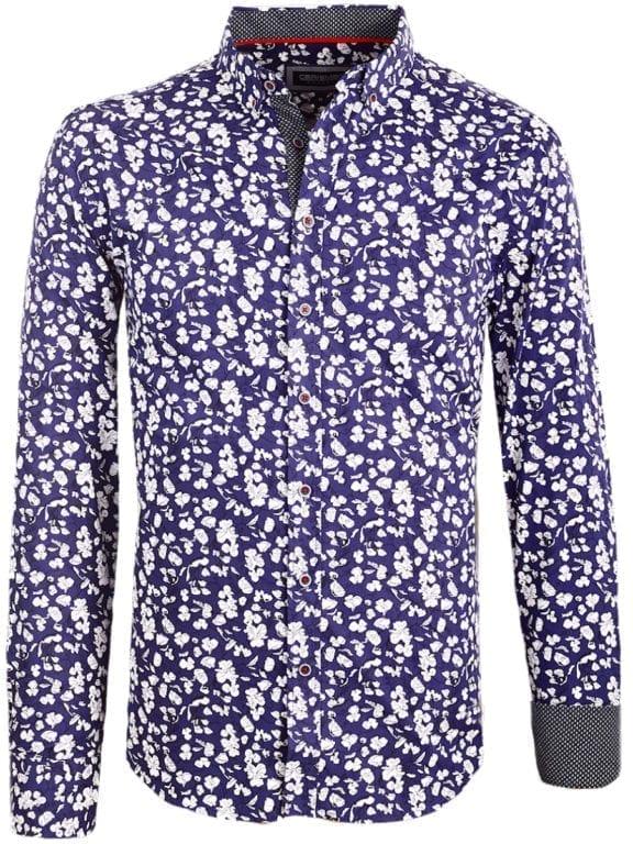 Carisma bloemenoverhemd lange mouw blauw shirt met bloemenprint 8417 (2)