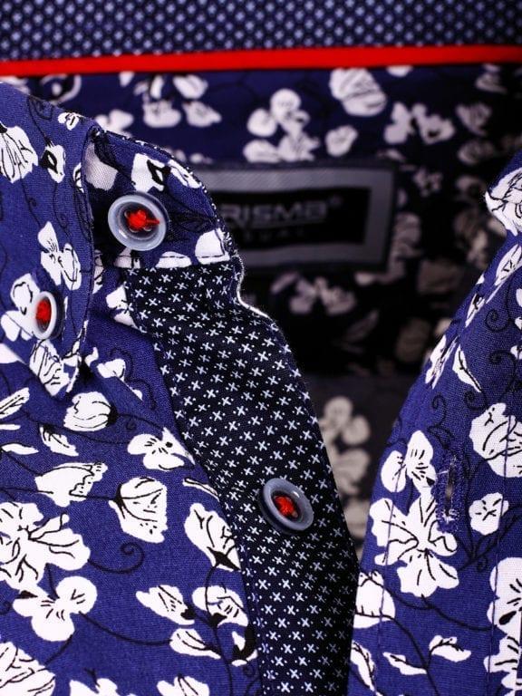 Carisma bloemenoverhemd lange mouw blauw shirt met bloemenprint 8417 (4)