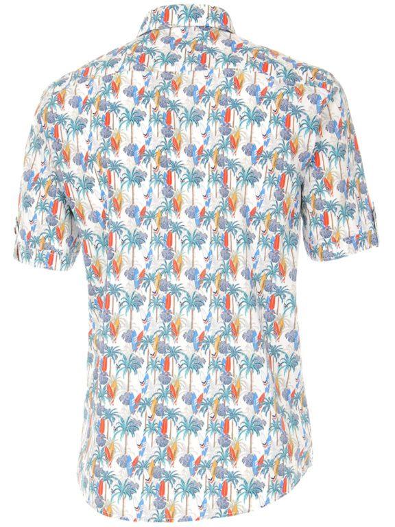 Casa Moda korte mouw overhemd met palmboom en surfplanken oranje 903453900-450 (1)