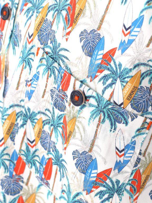 Casa Moda korte mouw overhemd met palmboom en surfplanken oranje 903453900-450 (2)